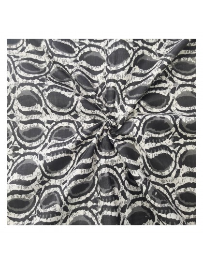 Khadi India Black & White Patch Printed Cloth Material