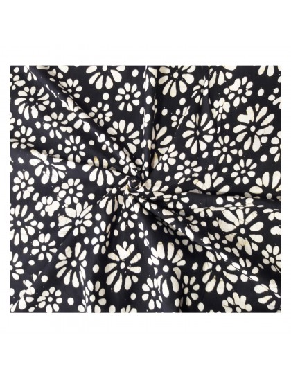 Khadi India Black & White Flower Printed Cloth Material