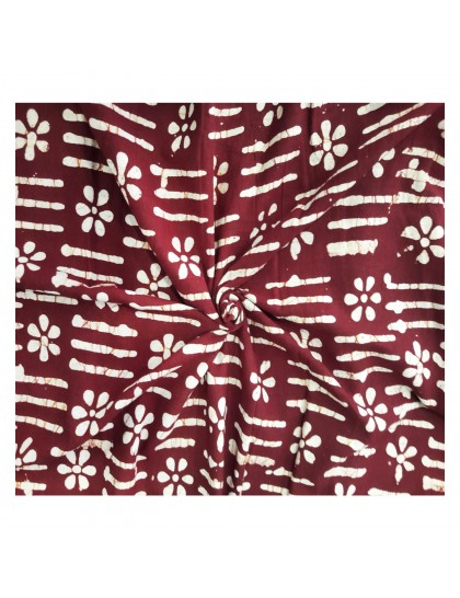 Khadi India Maroon Flower Printed Cloth Material