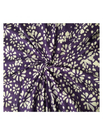 Khadi India Purple Flower Printed Cloth Material