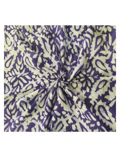 Khadi India Purple & White Printed Cloth Material