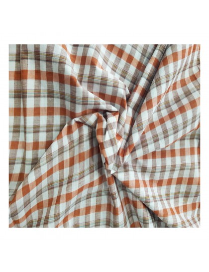 Khadi India Men's Casual Cotton Shirt Material (White & Orange)