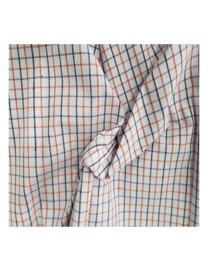 Khadi India Men's Casual Cotton Shirt Material (White & Red)