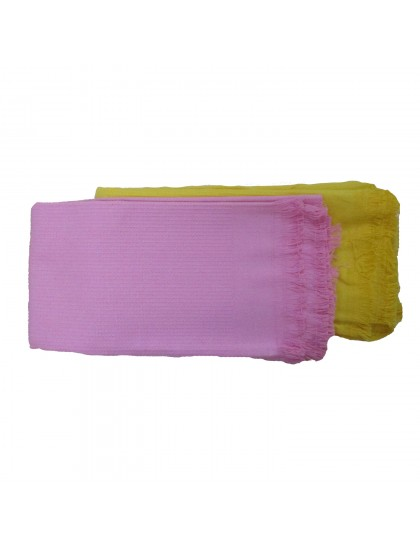 Khadi India Cotton Bath Towel -Pink/Yellow (2pcs Combo)