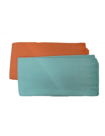 Khadi India Cotton Bath Towel -Green/Orange (2pcs Combo)