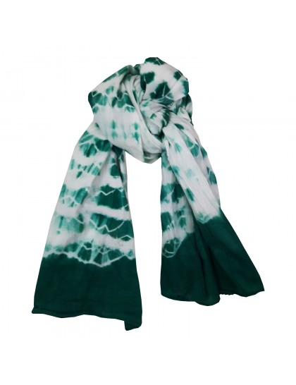 Khadi India Women's Cotton Casual Printed Stole Scarf ( White & Green)