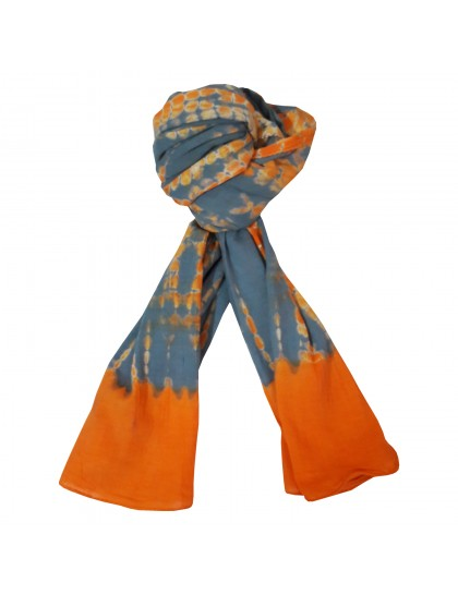 Khadi India Women's Cotton Casual Printed Stole Scarf (Orange & Grey)