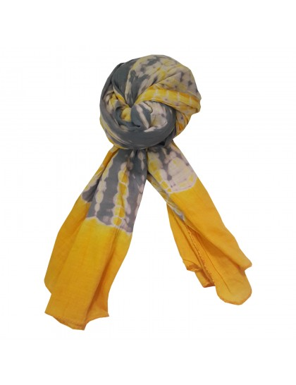 Khadi India Women's Cotton Casual Printed Stole Scarf (Yellow & Grey)