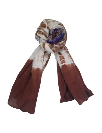 Khadi India Women's Cotton Casual Printed Stole Scarf (White & Brown)