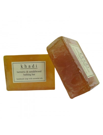 Khadi India Turmeric & Sandalwood Bathing Bar 125gX2 (Pack Of 2)