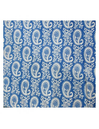 Khadi India Blue & White Mango Design Cloth Material