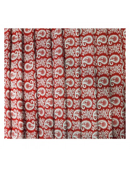Khadi India Red & White Mango Design Cloth Material