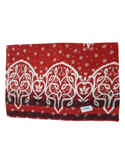 Khadi India Cotton Design Printed Single Bedsheet With Pillow Cover (Red)