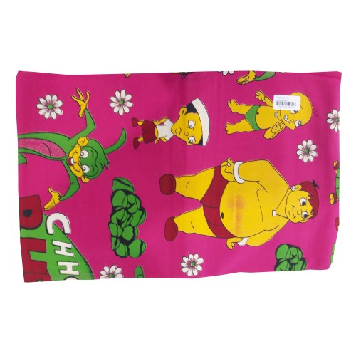 Khadi India Cartoon Printed Single Bedsheet With Pillow Cover (Pink)