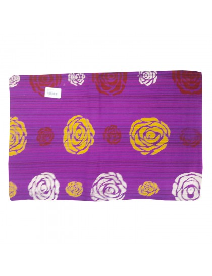 Khadi India Cotton Flower Printed Single Bedsheet With Pillow Cover (Purple)