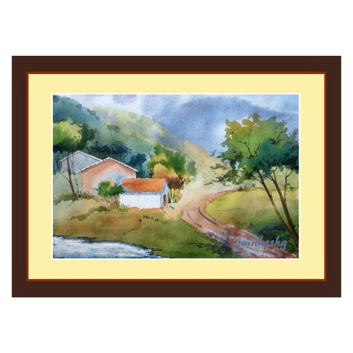 Beautiful Gagnbavda Road Painting (Set of 2)