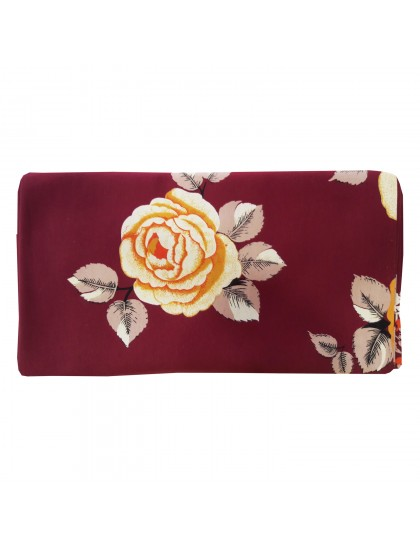 Khadi India Cotton 3-D Reactive Flower Printed Double Bedsheet with 2 Pillow (Maroon)