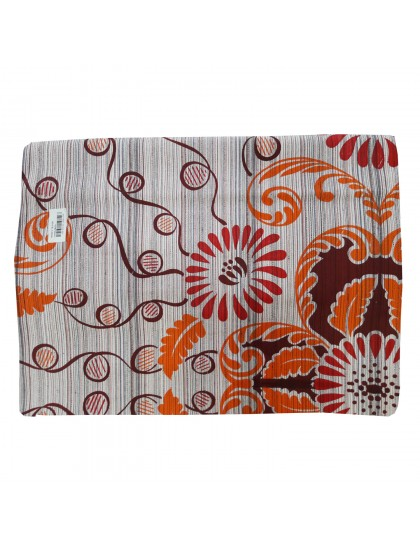 Khadi India Cotton Flower Printed Double Bedsheet With 2 Pillow Covers (Maroon & orange)