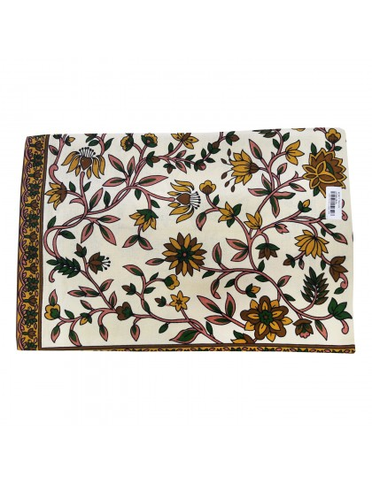 Khadi India Cotton Flower Printed Double Bedsheet With 2 Pillow Covers (Offwhite & Green)