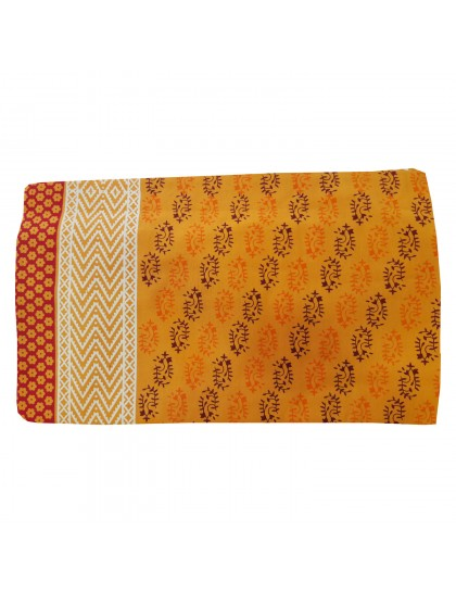 Khadi India Cotton Jaipuri Designer Printed Double Bedsheet With 2 Pillow Covers (Mango Color)