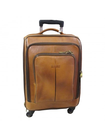 Khadi India Real Leather Suitcase (Mustard brown)
