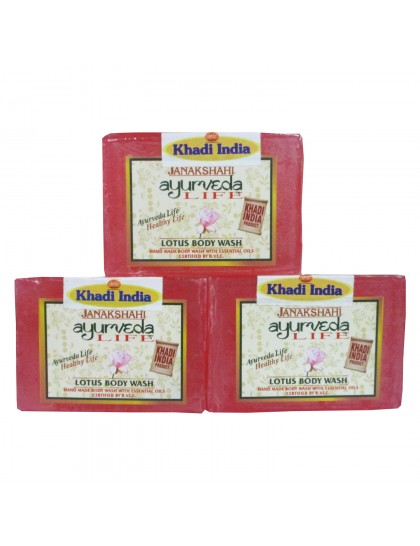 Khadi India Janakshahi Ayurveda Life Lotus Body Soap 125gX3 (Pack of 3)