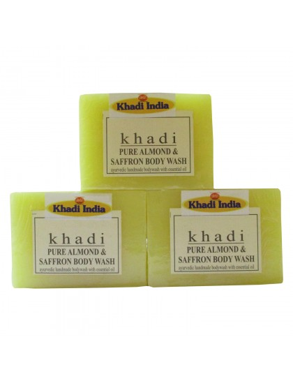 Khadi India Pure Almond & Saffron Body Wash Soap 125gX3 (Pack of 3)