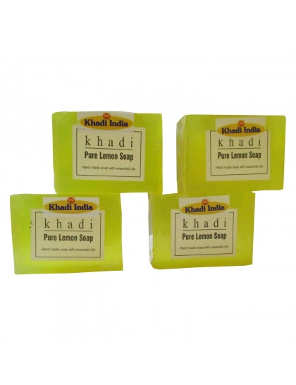 Khadi India Pure Lemon Soap 125gX4 (Pack of 4)