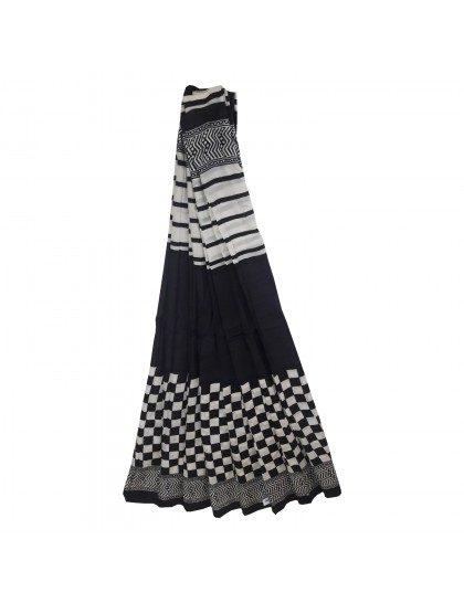 Khadi India Silk Block Printed Saree with Blouse Piece (Black & White)