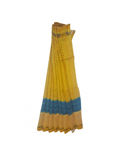Khadi India Silk Printed Saree With Blouse Piece (Yellow& White)