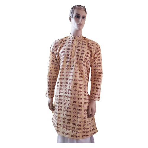 Khadi India Hare Rama, Hare Krishna Printed Full Sleeve Men Kurta (Size-42)