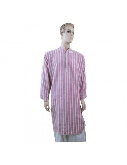 Khadi India Men's Long Sleeve Cotton Kurta (Light Pink)