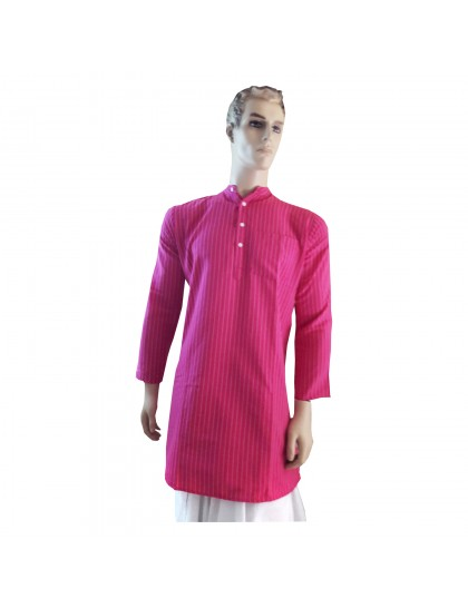 Khadi India Men's Long Sleeve Cotton Kurta (Pink)