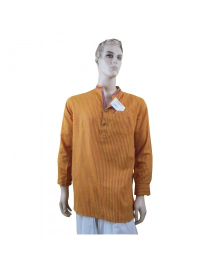 Khadi India Men's short length Kurta (Yellow)