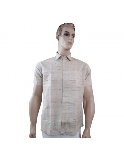 Khadi India Raw Silk Regular Formal Half Sleeves Shirt (Size-38)