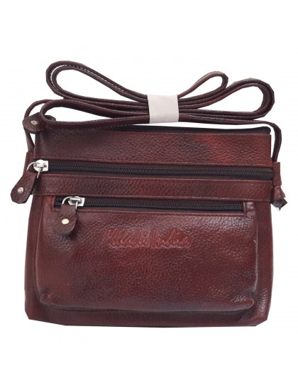 Khadi India Brown Leather Sling Bag For Women