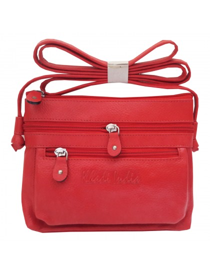 Khadi India Red Leather Sling Bag For Women