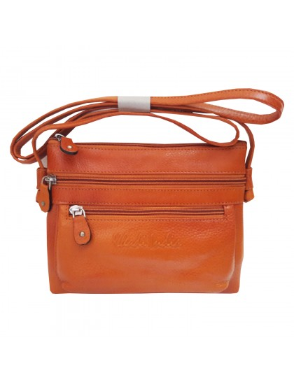Khadi India Orange Leather Sling Bag For Women