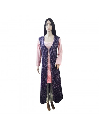Khadi India Women's Blue & Pink A-line Long Kurti