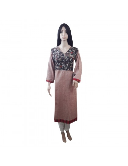 Khadi India Women's Flower Printed Long Kurti (Pink)