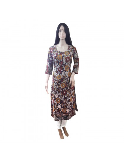 Khadi India Women's Multi Color Flower Printed Long Kurti
