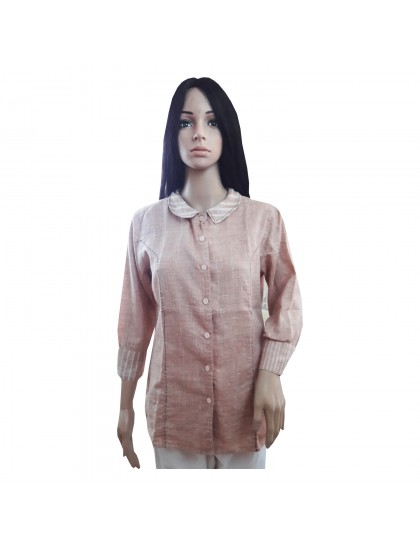Khadi India Cotton Khadi Silk Shirt For Women (Cream)