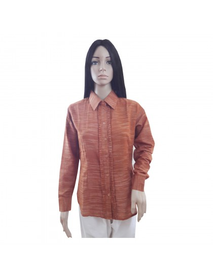 Khadi India Cotton Khadi Silk Shirt For Women (Brown)