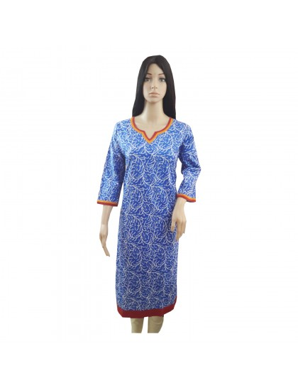 Khadi India Women Printed Blue Kurti For Festive & Party (Size- 42)