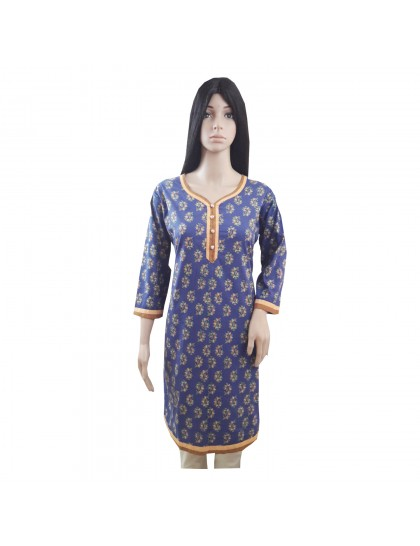 Khadi India Women Printed Blue Kurti For Festive & Party (Size- 40)