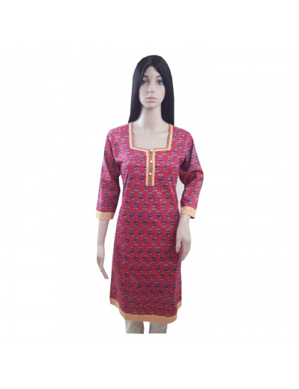Khadi India Women Printed Pink Kurti For Festive & Party (Size- 40)