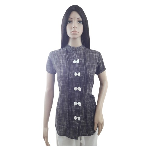 Khadi India Cotton Khadi Silk Shirt For Women (Small)