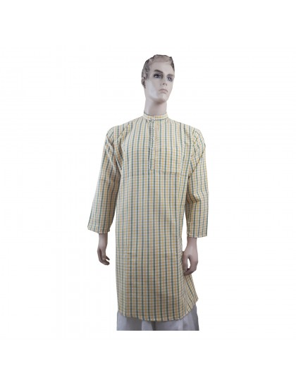 Khadi India Men's Check Cotton Long Kurta