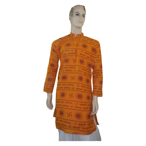 Khadi India Om / Swastik Printed Full Sleeve Men Kurta (Size-38)