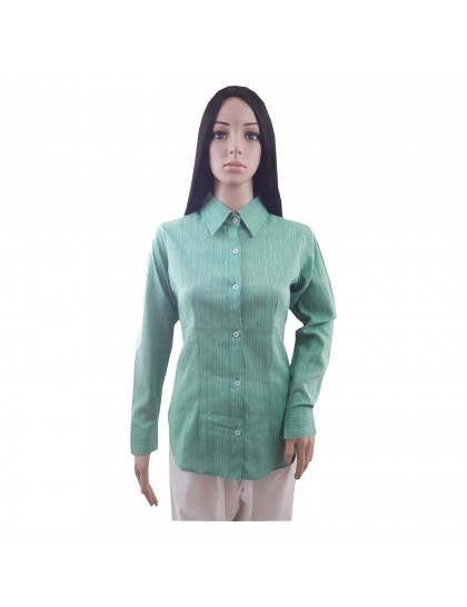 Khadi India Cotton Khadi Silk Shirt For Women (Green)